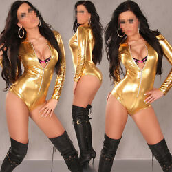 Womens Sexy Patent Leather Lingerie Jumpsuits Teddies Jazzy Costume Fascinating
