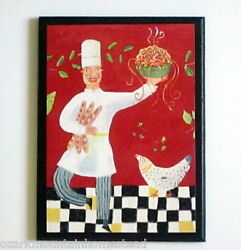 Chef Wall Decor Plaque Italian Kitchen Sign Red Picture Pasta Made in America $16.97