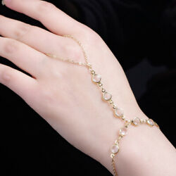 Charm Alloy Bracelet Finger Ring Harness Hand Chain Simple Women Jewelry Gifts