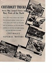 1943 Chevrolet GMC  Ad Chevy Trucks Serving Armed Forces Around World