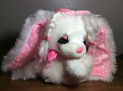 Rare Vintage REGINA The CROWN JEWEL of Toys WHITE Plush Puppy DOG Pink Heart Bow