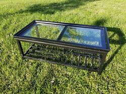 Black Coffee Table Glass on Top Wood Used Good Condition Rectangular $49.99