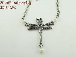 Retired Top Shelf Jewelry Silver Tone DRAGONFLY Crystal Necklace 18