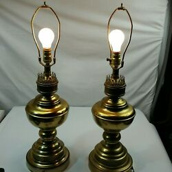 70s leviton Brass Lamps living room bedroom lamps nightstand end table $50.96