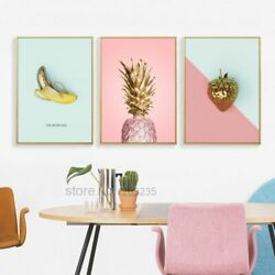 Posters Wall Art Canvas Paintings Picture Yellow Pink Fruits Nordic Style Decors $98.38