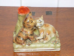 Rare Staffordshire Cats Spill Vase Hollow Base