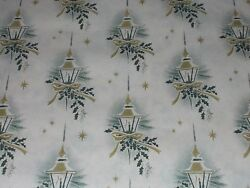 VTG CHRISTMAS 1950 CANDLE LAMP POST WRAPPING PAPER GOLD STAR 2 YARDS NOS $9.99