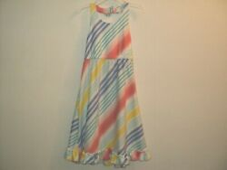 Gymboree Girls Size 4 Tropical Breeze Rainbow Striped Halter Dress Midi