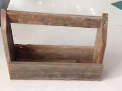 PRIMITIVE WOODEN CADDY WITH HANDLE