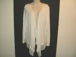 NEW Esperanza New York Women#x27;s Size L Top White Open Front Long Sleeves Large $16.07