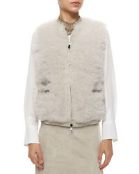 BRUNELO CUCINELLI FUR REVERSIBLE VEST JACKET CHAIN EMBROIDERED $2858