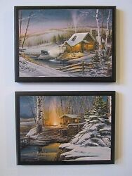 Cabins Rustic Wall Decor Plaques Peaceful Winter Snow Scenery Country Pictures $19.97