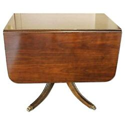 Fine Mahogany Drop Leaf Claw Foot Table Dining Console Side Sofa Server Vintage