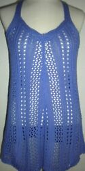 MAURICES MS SIZE MEDIUM PERIWINKLE BLUE LOOSE KNIT FASHION TANK STYLE TOP