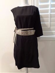 CHETTA B Black Lined Dress cocktail sleeve belted SZ 8 NWT $49.00