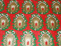 VTG CHRISTMAS WRAPPING PAPER UNUSED GIFT WRAP RETRO LANTERNS LAMPS CANDLES $6.99