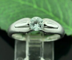 14k  Solid White gold natural Aquamarine ring  March Birthstone Solitaire