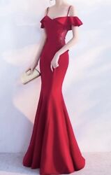 Long Evening Dress Party Red See through Dress Appliques Beaded $50.00