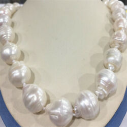 Huge 15x20MM WHITE BAROQUE PEARL NECKLACE 18