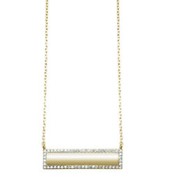Yellow Gold Plated CZ Engraveable Bar Engraveable .925 Sterling Silver Necklace
