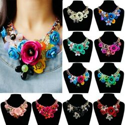 Chic Chain Lady Crystal Flower Statement Bib Big Chunky Collar Jewelry Necklace