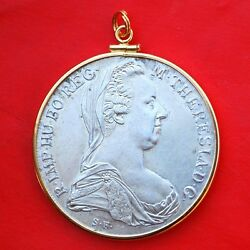 1780 AUSTRIA MARIA THERESA RESTRIKE SILVER COIN 14k Gold Filled Pendant $59.95