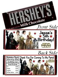 12 Star Wars Birthday Party Baby Shower Hershey Candy Bar Wrappers Favors $6.99
