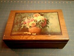 Wooden Jewelry Trinket Box Finger Jointed w Decoupage Floral Design Vintage