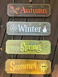 Custom Signs Spring Summer Autumn Winter Hand painted with Hardware $142.50