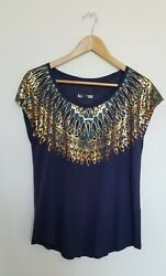 NEW Lucky Brand Women Navy Foil Top Size: XL $15.99