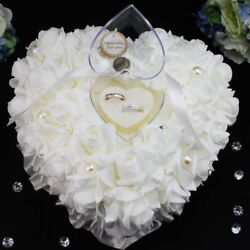 Romantic Rose Wedding Favors Heart Shaped Jewelry Gift Ring Box Pillow Cushion