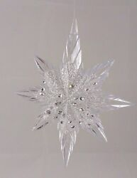 LOT OF 3 5.25quot; Acrylic Crystal Gem Star Christmas Hanging Ornament $13.49