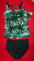 MagicSuit Tankini Set High Neckline Loose Fitting size 12 or 14 Green/Blk Print $59.99