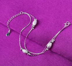 925 Sterling Silver Stars Beads Foot Ankle Bracelet Double Chain Anklet A19