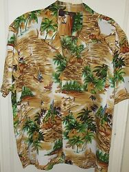 Hawaiian Roundy Bay Tropical Shirt X Large Palm Trees Sail Boats Beach