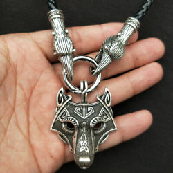 High Quality Men's Norse Viking  Ravens Crow&Wolf Pendant Necklace Amulet Gifts