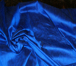 100% Natural Silk Indian Dupioni Fabric Royal Blue Luxurious By The Yard