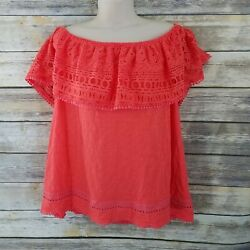 Lane Bryant Size 1820 Off Shoulde Orange Eyelet knit Top Blouse Summer Sexy $19.59