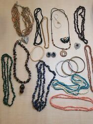Vintage Costume Jewelry Lot Red Blue Coral Stones Cloisonne AS IS