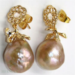 14-15mm Peacock Pink Baroque Pearl Earrings 18k Ear Stud Real Cultured Party