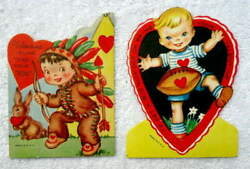 TWO VINTAGE DIE CUT VALENTINES BOY DRESSED AS INDIAN BOY PLAYING FOOTBALL #E4 $5.00
