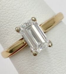 14K Yellow Gold .78ct VS1 G Emerald Cut Diamond Solitaire Engagement Ring