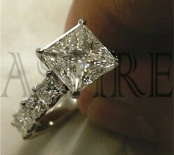 Solid 14k white Gold 3.45 ct Princess cut Solitaire Diamond Engagement Ring