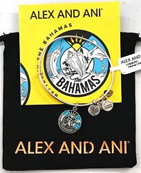 New Alex And Ani Exclusive 2019 Bahamas Silver Charm Adjustable Bangle Bracelet