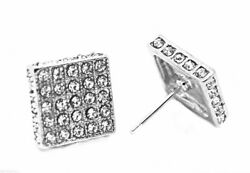 Mens Ear Stud Bling Crystal CZ Big Square Silver Tone 12mm Earrings GBP 6.45