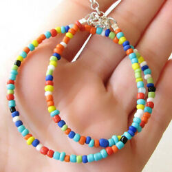 Bohemian Vintage Handmade Multicolor Beaded Short Necklace Choker Womens Jewelry