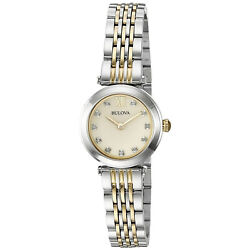 Bulova Women's Quartz Diamond Accents Champagne Dial Two Tone 25mm Watch 98P154