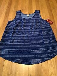 Faded Glory Women's Blue White Striped Loose Fit Summer Plus Size 1x NEW 16w $6.00