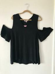 NWT Extra Touch Plus Women#x27;s Cold Shoulder Sleeve Solid Black Top Blouse 2X $9.99