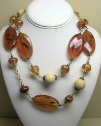 JOAN RIVERS GOLD PLATED FAUX AMBER & WOOD BEAD 36